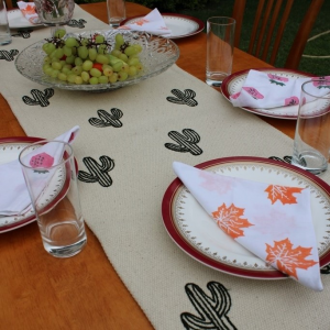 Cactus embroided Table Runner
