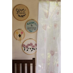 Heart Embroidered Curtain