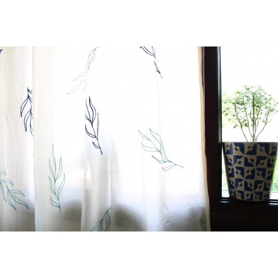 Azure Sage Leaf Embroidery Curtain