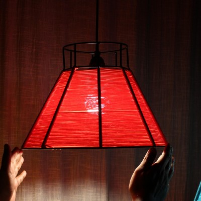Woven Wire Lamp Red
