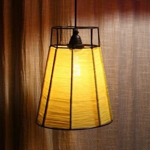 Woven Wire Lamp Yellow