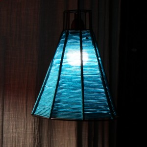 Woven Wire Lamp Blue