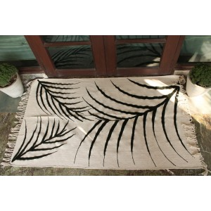 Palm leaf embroided Rug