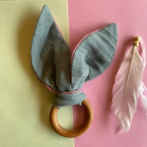 Dark Grey bunny ear teether