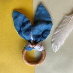 Blue bunny ear teether