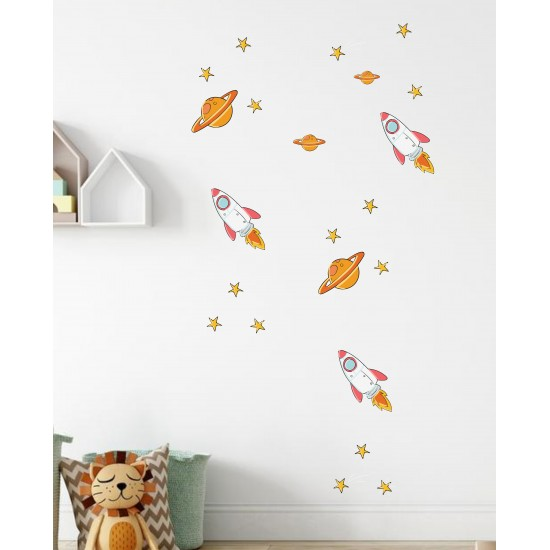 Rocket and Planets Wall Decal