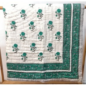 Sea Green Flower Printed Quilt