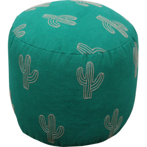 Cactus  embroidery Pouf Stool